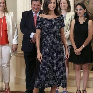Zara Tweed Midi Dress with Gem Button sz large